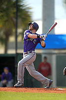 Kentucky Wesleyan Panthers designated hitter Troy Paris (15) during a game against Slippery Rock University on March 9, 2015 at Jack Russell Stadium in Clearwater, Florida.  Kentucky Wesleyan defeated Slippery Rock 5-4.  (Mike Janes/Four Seam Images)