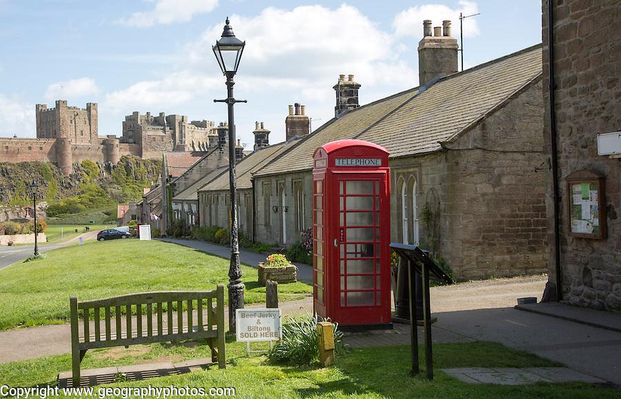 Bamburgh castle and village, Northumberland, England, UK