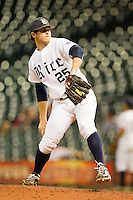 Rice Owls relief pitcher Chase McDowell #25 in action against the Texas Longhorns at Minute Maid Park on March 2, 2012 in Houston, Texas.  The Longhorns defeated the Owls 11-8.  (Brian Westerholt/Four Seam Images)