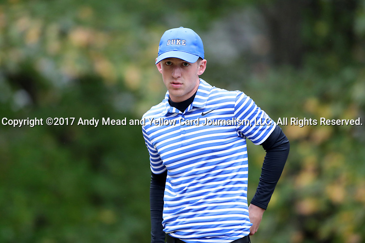 GREENSBORO, NC - OCTOBER 29: Duke's Chandler Eaton on the 3rd tee. The third round of the UNCG/Grandover Collegiate Men's Golf Tournament was held on October 29, 2017, at the Grandover Resort East Course in Greensboro, NC.