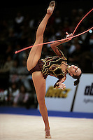Anna Bessonova of Ukraine handles with rope at 2008 Portimao World Cup of Rhythmic Gymnastics on April 20, 2008.  Photo by Tom Theobald.