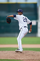 Princeton Rays starting pitcher Wanderson Linares (28) delivers a pitch during the second game of a doubleheader against the Greeneville Reds on July 25, 2018 at Hunnicutt Field in Princeton, West Virginia.  Greeneville defeated Princeton 8-7.  (Mike Janes/Four Seam Images)