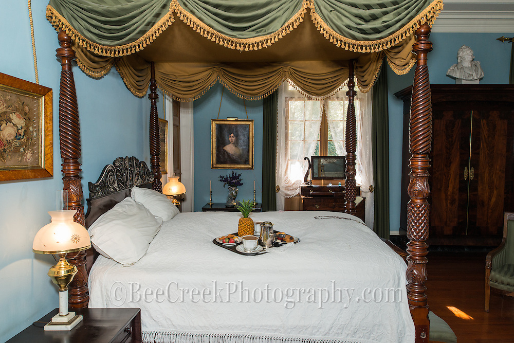 One of the guest bedrooms at the Mansion at Oak Alley with a traditional breakfast for a guest.  The pineapple is way of welcoming you to their house, but if you got a second one you have overstayed your welcome.  A polite way of saying it is time to leave.