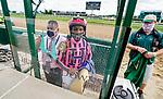 September 1, 2020: Winning jockey Ricardo Santana is weighed after winning a maiden race on opening day of Kentucky Derby Week at Churchill Downs in Louisville, Kentucky. Scott Serio/Eclipse Sportswire/CSM