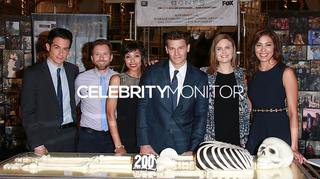 CENTURY CITY, CA, USA - NOVEMBER 14: T.J. Thyne, Tamara Taylor, David Boreanaz, Emily Deschanel pose at FOX's 'Bones' 200th Episode Celebration With The Cast And Producers held at the Fox Studio Lot on November 14, 2014 in Century City, California, United States. (Photo by David Acosta/Celebrity Monitor)