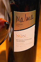 Bottle of Malma Merlot NQN Bodega NQN Winery, Vinedos de la Patagonia, Neuquen, Patagonia, Argentina, South America
