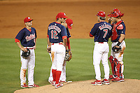 Memphis Redbirds manager Chris Maloney #7 makes a pitching change during a game versus the Round Rock Express at Autozone Park on April 28, 2011 in Memphis, Tennessee as Pete Kozma #8, Matt Carpenter #12, catcher Tony Cruz #18 and others wait.  Memphis defeated Round Rock by the score of 6-5 in ten innings.  Photo By Mike Janes/Four Seam Images