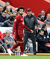 Liverpool manager Jurgen Klopp shouts instructions to Mohamed Salah<br /> <br /> Photographer Rich Linley/CameraSport<br /> <br /> The Premier League - Liverpool v Manchester City - Sunday 7th October 2018 - Anfield - Liverpool<br /> <br /> World Copyright &copy; 2018 CameraSport. All rights reserved. 43 Linden Ave. Countesthorpe. Leicester. England. LE8 5PG - Tel: +44 (0) 116 277 4147 - admin@camerasport.com - www.camerasport.com