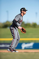 Salt River Rafters third baseman Drew Ellis (13), of the Arizona Diamondbacks organization, during an Arizona Fall League game against the Mesa Solar Sox at Sloan Park on November 9, 2018 in Mesa, Arizona. Mesa defeated Salt River 5-4. (Zachary Lucy/Four Seam Images)