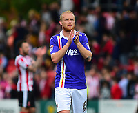 Exeter City's Robbie Simpson applauds the fans at the final whistle<br /> <br /> Photographer Andrew Vaughan/CameraSport<br /> <br /> The EFL Sky Bet League Two Play Off First Leg - Lincoln City v Exeter City - Saturday 12th May 2018 - Sincil Bank - Lincoln<br /> <br /> World Copyright &copy; 2018 CameraSport. All rights reserved. 43 Linden Ave. Countesthorpe. Leicester. England. LE8 5PG - Tel: +44 (0) 116 277 4147 - admin@camerasport.com - www.camerasport.com