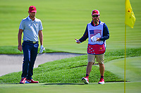 Kevin Chappell (USA) looks over his chip shot on 3 during round 3 Four-Ball of the 2017 President's Cup, Liberty National Golf Club, Jersey City, New Jersey, USA. 9/30/2017.<br /> Picture: Golffile | Ken Murray<br /> <br /> All photo usage must carry mandatory copyright credit (&copy; Golffile | Ken Murray)