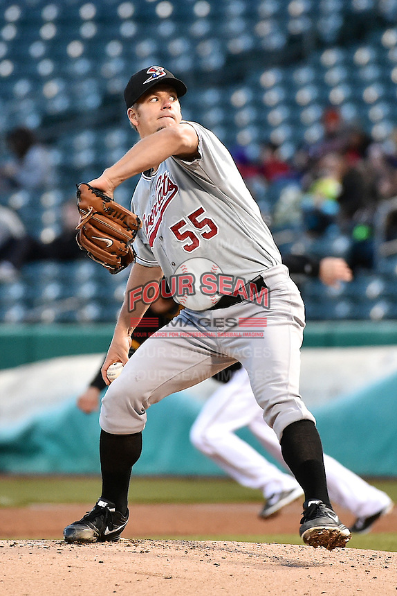 Joe Blanton (55) of the Sacramento River Cats delivers a pitch to the plate against the Salt Lake Bees at Smith's Ballpark on April 5, 2014 in Salt Lake City, Utah.  (Stephen Smith/Four Seam Images)