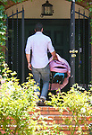 May 13th 2012 ..Katherine Heigl out in Los Angeles with her family husband Josh Kelley and two kids Naleigh & new baby .Wearing a short tight pink white  skirt dress purse big handbag knee high boots..AbilityFilms@yahoo.com.805-427-3519.www.AbilityFilms.com..