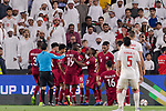 Almoez Ali of Qatar (C, #19) celebrating his score during the AFC Asian Cup UAE 2019 Semi Finals match between Qatar (QAT) and United Arab Emirates (UAE) at Mohammed Bin Zaied Stadium  on 29 January 2019 in Abu Dhabi, United Arab Emirates. Photo by Marcio Rodrigo Machado / Power Sport Images