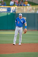 Jake Peter (3) of the Oklahoma City Dodgers during the game against the Salt Lake Bees at Smith's Ballpark on August 1, 2019 in Salt Lake City, Utah. The Bees defeated the Dodgers 14-4. (Stephen Smith/Four Seam Images)