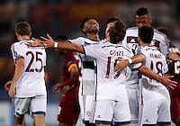Calcio, Champions League, Gruppo E: Roma vs Bayern Monaco. Roma, stadio Olimpico, 21 ottobre 2014.<br /> Bayern's Mario Goetze, center, n.19, back to camera, celebrates with teammates after scoring during the Group E Champions League football match between AS Roma and Bayern at Rome's Olympic stadium, 21 October 2014.<br /> UPDATE IMAGES PRESS/Isabella Bonotto