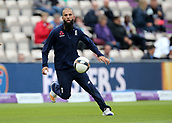 29th September 2017, Ageas Bowl, Southampton, England; One Day International Series, England versus West Indies; Moeen Ali of England plays football during warm up