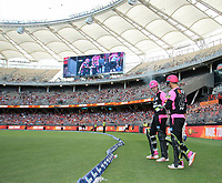 26th December 2019; Optus Stadium, Perth, Western Australia, Australia;  Big Bash League Cricket, Perth Scorchers versus Sydney Sixers; Sixers opening batsmen Josh Philippe and Daniel Hughes of the Sydney Sixers touch gloves before going out to open the innings - Editorial Use