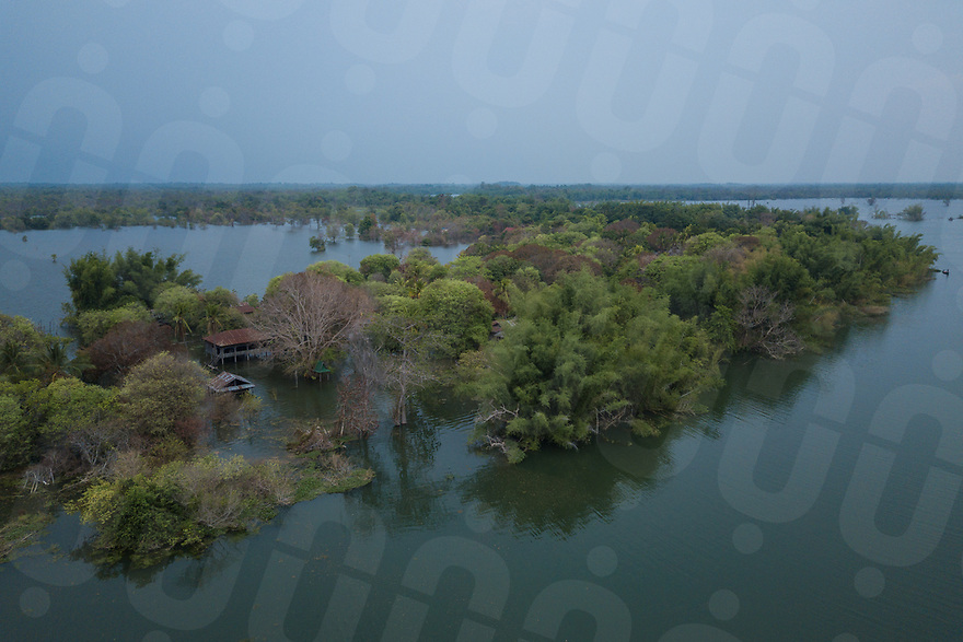 April 25, 2018 - Stung Treng (Cambodia). Aerial iew of the village of Kbal Romeas now flooded due the rise of the Sesan river's water after the gates of the Lower Sesan 2 dam were finally closed in October 2017. © Thomas Cristofoletti / Ruom
