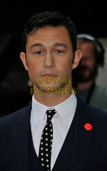 Joseph Gordon-Levitt.'The Dark Knight Rises' European premiere at Odeon Leicester Square cinema, London, England..18th July 2012.headshot portrait black suit white shirt polka dot .CAP/WIZ.© Wizard/Capital Pictures.