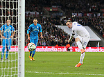 England's Wayne Rooney scoring his sides opening goal<br /> <br /> - International European Qualifier - England vs Slovenia- Wembley Stadium - London - England - 15th November 2014  - Picture David Klein/Sportimage