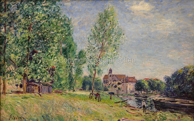 Moret, le chantier naval a Matrat, the canal at Moret-sur-Loing, c. 1882, oil on canvas, by Alfred Sisley, 1839-99, French Impressionist painter, in Le MUDO, or the Musee de l'Oise, Beauvais, Picardy, France. Picture by Manuel Cohen