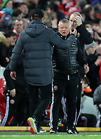 2nd January 2020; Anfield, Liverpool, Merseyside, England; English Premier League Football, Liverpool versus Sheffield United; Liverpool manager Jurgen Klopp shakes hands with Sheffield United manager Chris Wilder as the match ends with a 2-0 win for Liverpool - Strictly Editorial Use Only. No use with unauthorized audio, video, data, fixture lists, club/league logos or 'live' services. Online in-match use limited to 120 images, no video emulation. No use in betting, games or single club/league/player publications