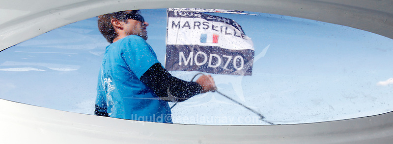 Onboard the MOD70 Race for Water, during a training session before the Marseille city race , skipper Steve Ravussin, Marseille, Bouches-du-Rhône, France.