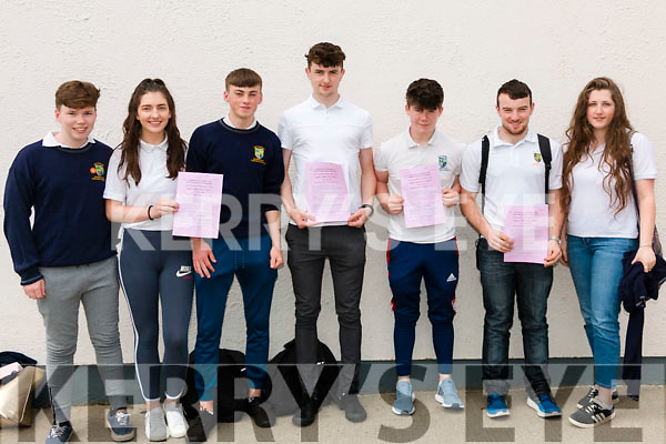 Pádraig Randles, Katie Quill, Liam Twomey, Daniel Casey, Séamus Browne, David Lynch and Rosina Law-Braney Leaving Cert students in Pobailscoil Inbhear Scéine pictured after completing English Paper 1 on Wednesday morning last.