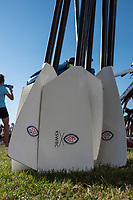 """Henley on Thames, United Kingdom, 29th June 2018, Friday, """"Henley Royal Regatta"""", Qualifying races, [Time Trails] Kings School Worcesters' oars/Blades resting at the entrance to boat ten bay entrance, Henley Reach, River Thames, Thames Valley, England, © Peter SPURRIER, 29/06/2018,"""