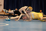 12 MAR 2011: Trevor Franklin of Upper Iowa controls Alex Meger of Augustana during the Division II Wrestling Championship held at the Health and Sports Center at the University of Nebraska- Kearney in Kearney, NE.  Franklin defeated Meger 3-0 for the national 133 lb. title. Scott Anderson/NCAA Photos