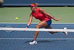 August 17,2017:   Madison Keys (USA) battles against Garbine Muguruza (ESP) before the rain delay at the Western & Southern Open being played at Lindner Family Tennis Center in Mason, Ohio.  ©Leslie Billman/Tennisclix/CSM
