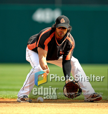 9 March 2007: Baltimore Orioles second baseman Brian Roberts warms up prior to facing the Washington Nationals at Fort Lauderdale Stadium in Fort Lauderdale, Florida. <br /> <br /> Mandatory Photo Credit: Ed Wolfstein Photo