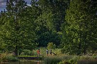Family walks across bridge over High;lands Park Wetlands in Westerville, Ohio.