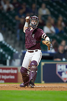 Mississippi State Bulldogs catcher Dustin Skelton (8) makes a throw to first base against the Louisiana Ragin' Cajuns in game three of the 2018 Shriners Hospitals for Children College Classic at Minute Maid Park on March 2, 2018 in Houston, Texas.  The Bulldogs defeated the Ragin' Cajuns 3-1.   (Brian Westerholt/Four Seam Images)