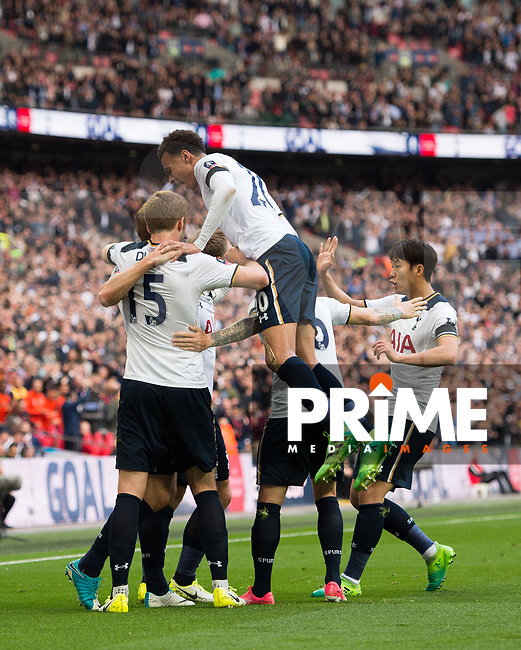 Tottenham's players celebrating Harry Kane goal during the FA Cup Semi Final match between Chelsea and Tottenham Hotspur at Wembley Stadium, London, England on 22 April 2017. Photo by Andrew Aleksiejczuk / PRiME Media Images.