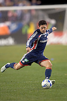 Jay Heaps (NE Revolution, blue). NE Revolution advance to Eastern Conference Finals with a 4-2  penalty kicks victory over Chicago Fire after a 2-2 aggregate tie, at Gillette Stadium.