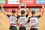 UAE Team Emirates on the podium at the end of Stage 9 of the 2017 La Vuelta, running 174km from Orihuela Ciudad del Poeta Miguel Hernandez to Cumbre del Sol, El Poble Nou de Benitatxell, Spain. 27th August 2017.<br /> Picture: Unipublic/&copy;photogomezsport | Cyclefile<br /> <br /> <br /> All photos usage must carry mandatory copyright credit (&copy; Cyclefile | Unipublic/&copy;photogomezsport)