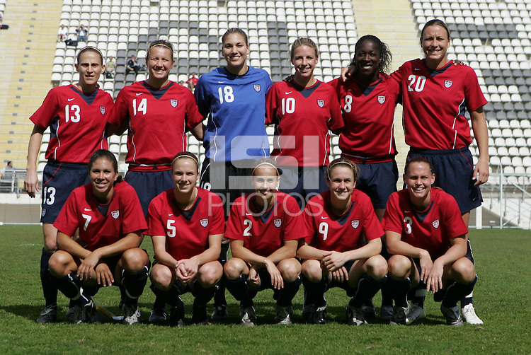 MAR 9, 2006: Faro, Portugal:  The USWNT poses for the team picture before playing China at the Algarve Cup in Faro, Portugal. Mandatory Credit: Photo By Brad Smith-International Sports Images. (c) Copyright 2006 Brad Smith