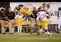 October 13th, 2011:  Keenan Allen of California dives for some more yardage after receiving during a game against USC at AT&T Park in San Francisco, Ca  -  USC defeated California 30 - 9