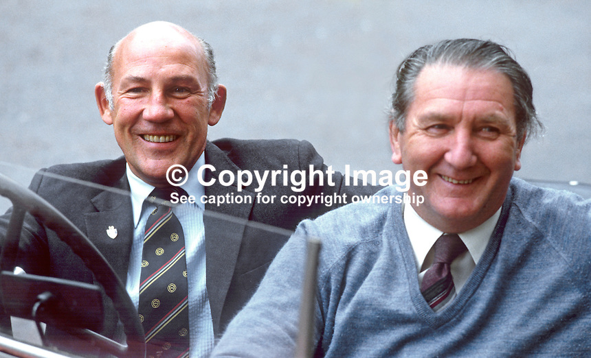 Former Formula 1 racing driver Stirling Moss, UK, during a visit to N Ireland with Ballymena garage owner, Malcolm Templeton. 19850713SM3<br /> <br /> Copyright Image from Victor Patterson, 54 Dorchester Park, Belfast, UK, BT9 6RJ<br /> <br /> t: +44 28 90661296<br /> m: +44 7802 353836<br /> vm: +44 20 88167153<br /> e1: victorpatterson@me.com<br /> e2: victorpatterson@gmail.com<br /> <br /> For my Terms and Conditions of Use go to www.victorpatterson.com