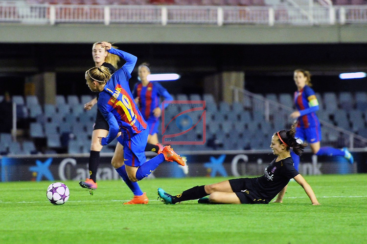 UEFA Women's Champions League 2016/2017.<br /> Round of 16 - First Leg<br /> FC Barcelona vs Twente: 1-0.<br /> Barbara Latorre vs Worm.