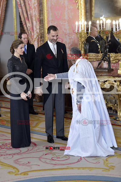 King Felipe VI and Queen Letizia of Spain attend the annual Foreign Ambassadors reception at the Royal Palace in Madrid. January 21, 2015. (POOL/Carlos Alvarez/ALTERPHOTOS) /NortePhoto<br />