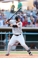 Mitch Delfino # 43 of the San Jose Giants bats against the Lancaster JetHawks at The Hanger on May 3, 2014 in Lancaster, California. San Jose defeated Lancaster, 5-4. (Larry Goren/Four Seam Images)