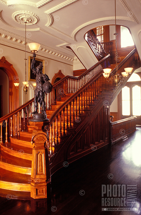 Stairwell in Iolani palace, a four-story Italian Renaissance palace built in 1882 and a home of Hawaiian royalty, Honolulu