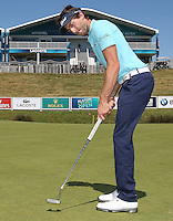 Rookie Frenchman Edouard Espana (FRA) in front of the Lacoste grandstand on the 18th, during the preview days of the 2015 Alstom Open de France, played at Le Golf National, Saint-Quentin-En-Yvelines, Paris, France. /30/06/2015/. Picture: Golffile | David Lloyd<br /> <br /> All photos usage must carry mandatory copyright credit (&copy; Golffile | David Lloyd)