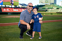 Former Chicago Cubs catcher David Ross poses for a photo after throwing out the first pitch before the Under Armour All-American Game presented by Baseball Factory on July 29, 2017 at Wrigley Field in Chicago, Illinois.  (Mike Janes/Four Seam Images)