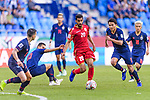 Sami Mohamed Alhusaini of Bahrain (C) is challenged by Thailand players during the AFC Asian Cup UAE 2019 Group A match between Bahrain (BHR) and Thailand (THA) at Al Maktoum Stadium on 10 January 2019 in Dubai, United Arab Emirates. Photo by Marcio Rodrigo Machado / Power Sport Images