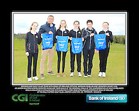 Dromoland GC team with Bank of Ireland Official Morgan Whelan and CGI Participation Officer Jennifer Hickey with Junior golfers across Munster practicing their skills at the regional finals of the Dubai Duty Free Irish Open Skills Challenge at the Ballykisteen Golf Club, Limerick Junction, Co. Tipperary. 16/04/2016.<br /> Picture: Golffile | Thos Caffrey<br /> <br /> <br /> <br /> <br /> <br /> All photo usage must carry mandatory copyright credit (© Golffile | Thos Caffrey)