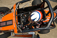28 June, 2008, Tracy, California, USA.Nic Faas in the cockpit of his midget..©2008 F.Peirce Williams, USA.F. Peirce Williams.photography.